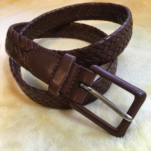 Talbots brown braided leather belt
